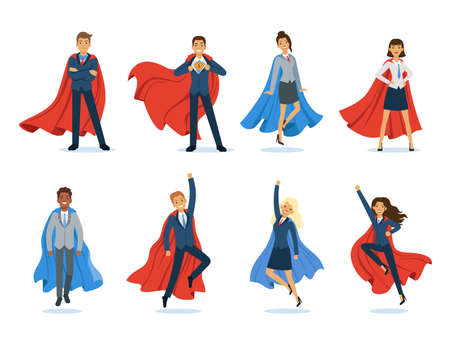 Business superheroes. Successful managers and bosses male and female professional vector characters in superhero cape. Superhero power, super strength business person illustration