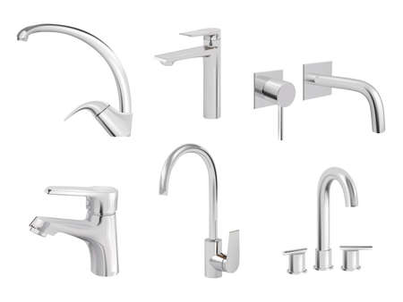 Water chrome tap. Kitchen tools plumbing accessories vector realistic collection pictures of aqua tap. Faucet tap, valve equipment, switcher plumbing illustration