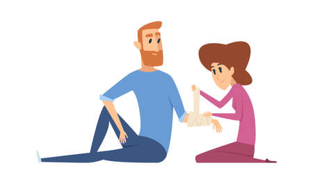 Broken arm. Woman applies bandage to man. Injury, emergency medical help vector illustration. Medical care bandage, man with fracture injury  イラスト・ベクター素材