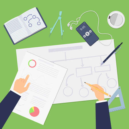 Planning. Agile concept, top view business plan or startup project. Hands drawing financial schemes vector illustration. Business development and strategy, diagram flow model, deployment and planning