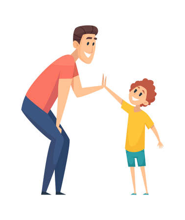 High five. Man greeting boy, happy people. Cartoon father spend time with son together vector illustration. Greeting man to boy high five, happy cartoon friendship