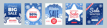 Winter sale flyers. Promo cards, season discount banners. Christmas or New Year shopping banners vector set. Illustration holiday promo template card, seasonal discount  イラスト・ベクター素材