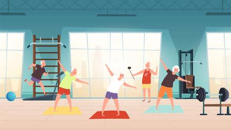 Elderly in gym. Happy seniors, active lifestyle old people. Man woman training, doing yoga running vector illustration. Fitness elderly sport, lifestyle senior in gym
