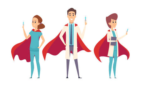 Medical superheroes team. Doctors wear hero capes, nurse therapist hospital staff. Virus protection, vaccination time vector characters. Illustration superhero professional, support medical
