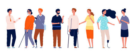 People together. Different person characters, socialization of disabled man woman. Crowd friends vector concept. Illustration disability and handicapped society  イラスト・ベクター素材