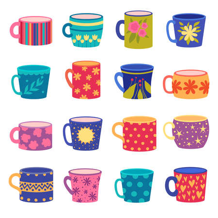 Ornaments cup. Trendy handy crafted colored cups with floral and geometrical textures drawn vector set. Illustration cup for coffee and tea with colored pattern