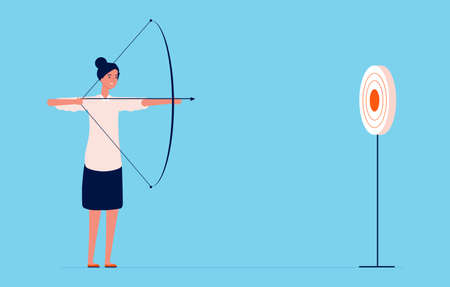 Target goal. Business woman shooting with bow and arrow, successful lady. Girl investor or project manager vector character. Arrow and target, lady success illustration