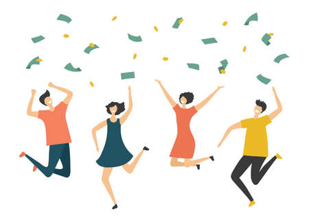 Happy people under money rain. Jumping man woman, profit or lottery win vector illustration. Finance success, rich and lucky rain profit  イラスト・ベクター素材