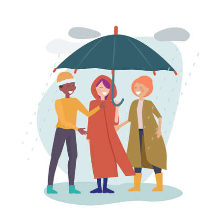 International friendship. Multicultural friends stand together under one umbrella. Rainy day, happy man woman in autumn clothes vector illustration. Umbrella protection, protect form rain