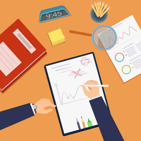 Deadline concept. Office work desk top view. Strategy planning, business investment vector concept. Office work business paper management, deadline workplace illustration