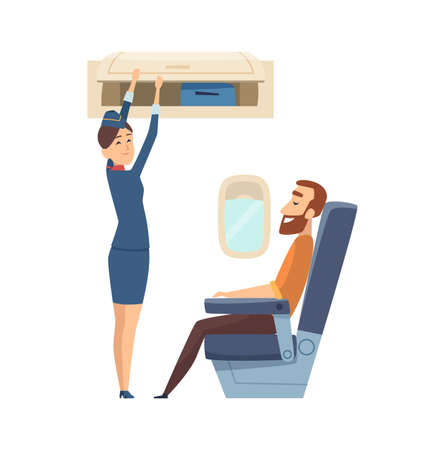 Happy stewardess character. Passenger in airplane sitting in chair on board, woman from staff with luggage vector illustration. Character stewardess in cartoon airplane and man passenger