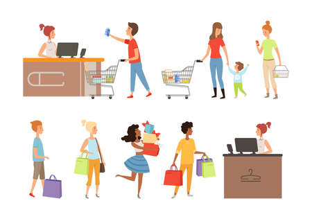 People queue. Grocery store customers, apparel shop or mall shoppers vector illustration. Queue customer to supermarket or store, cashier and buyer