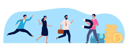 Businessman attraction people. Person magnet, employees running to work. HR concept, greed or need for money vector illustration. Businessman magnet employee, attract and pull