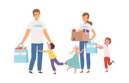 Volunteers visit orphanage. Happy orphans, man woman with donations and presents. Children running hugging male and female characters vector illustration. Social charity and support, help child orphan
