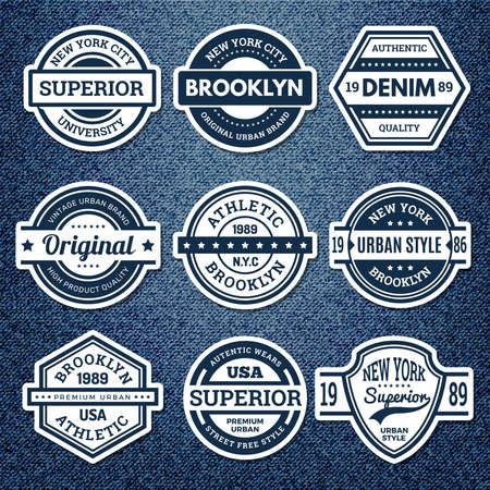 Graphic jeans badges. Jacket patch emblem embroidery vintage college stamp athletics urban style vector set. Illustration badge clothing, apparel denim wear