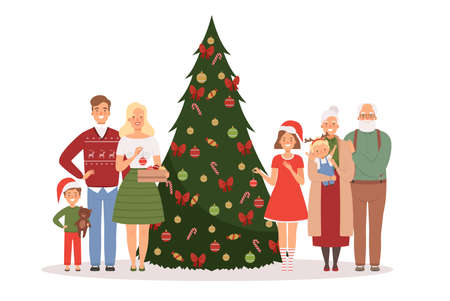 Christmas family. Mother father kids and grandparents standing near christmas tree with new year gifts vector cartoon background. Christmas celebration family with green tree and gifts illustration  イラスト・ベクター素材
