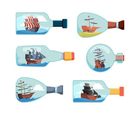 Ship in bottles. Decorative marine souvenir bottles boat vector illustrations. Collection of bottle with ship, decoration transparent souvenir  イラスト・ベクター素材