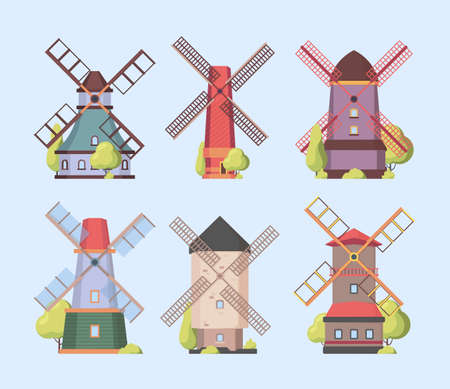 Windmill. Holland dutch authentic constructions windmills vector collection set. Farm construction with propeller, netherlands village gristmill illustration  イラスト・ベクター素材