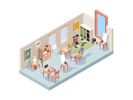 Drawing lesson. Teacher teaching little artists making paintings kids workspace with easel and canvas vector isometric interior. Easel and canvas, drawing picture hobby illustration Stock fotó - 155731775