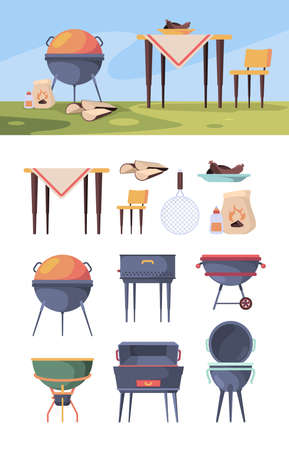 Bbq stand. Picnic grill steak in summer outdoor party kitchen items for food vector bbq yard. Barbecue picnic, bbq grill steak, grilling and cooking illustration