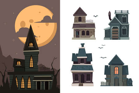 Scary houses. Spooky buildings outdoor village haunted horror constructions for halloween party vector flat pictures. Spooky and scary house for halloween illustration