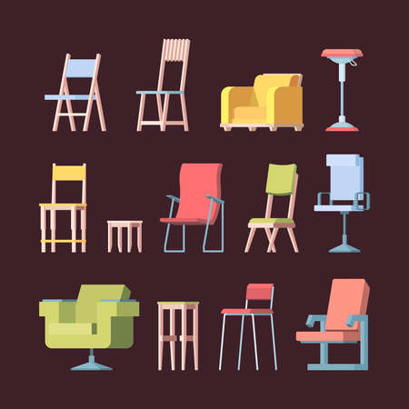 Chairs collection. Front view elegant furniture for home modern style vector pictures. Illustration furniture chair, armchair for home and office 向量圖像
