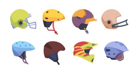Sport helmet. Motorbike safety accident helmet vector illustrations collection. Colored helmet baseball and hockey  イラスト・ベクター素材