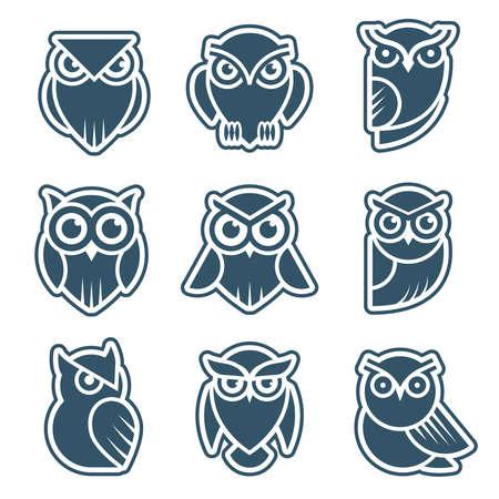 Owl . Stylized wild animal symbols bird face with feathers vector modern identity templates. Owl animal, wild symbol stylized for tattoo graphic illustration