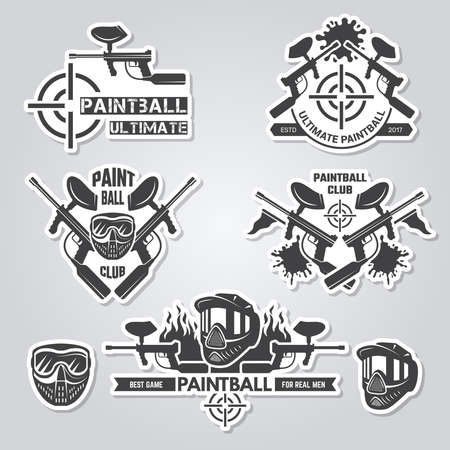 Paintball labels. Sport badges active games with gun and paint shooter team labels vector collection. Paintball and shooting extreme illustration  イラスト・ベクター素材