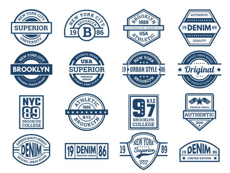Jeans emblems. Vintage typography labels urban style wear patches sport banners embroidery vector collection. Apparel shirt and jeans, brand emblem denim illustration