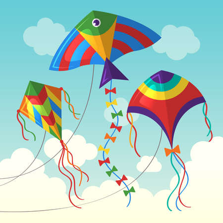 Kite in cloud. Flying outdoor air kite vector funny toys for kids vector background in cartoon style. Kite in air sky, illustration wind freedom game