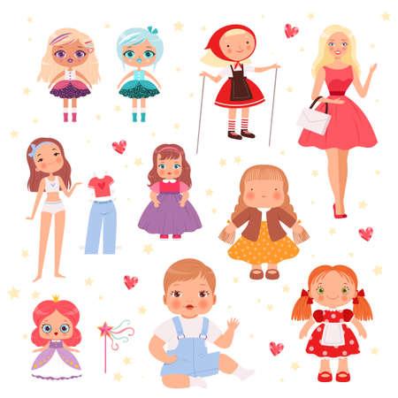 Dolls toys. Cute playing model for kids joyful toys vector set. Illustration doll for kids, cartoon toys for children