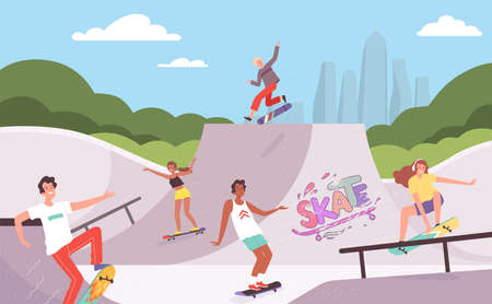 Extreme park. Outdoor activities of skateboarders riders in action poses jump ramp teenagers hipsters vector background. Activity extreme rider, fun skate sport illustration