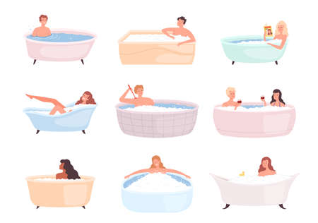 Bathtub characters. People taking bath water relax therapy in foam happy persons washing vector illustration. People in bathroom, wash and care