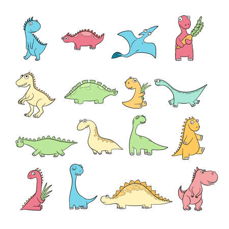 Cute dinosaurs. Set of funny wild ancient reptiles pterodactyl diplodocus vector doodle characters. Dino character, dinosaur triceratops and prehistory stegosaurus illustration