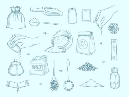 Salt collection. Ingredient for food hands with salt shaker kitchenware items for preparing food peppers vector hand drawn set. Salt heap and preparation to cooking illustration  イラスト・ベクター素材