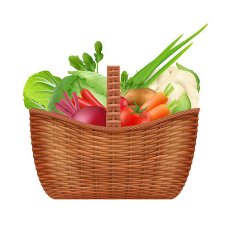 Vegetables basket. Realistic picnic decorative container basket for natural healthy vegetables isolated on white. Picnic basket with fresh vegetable illustration