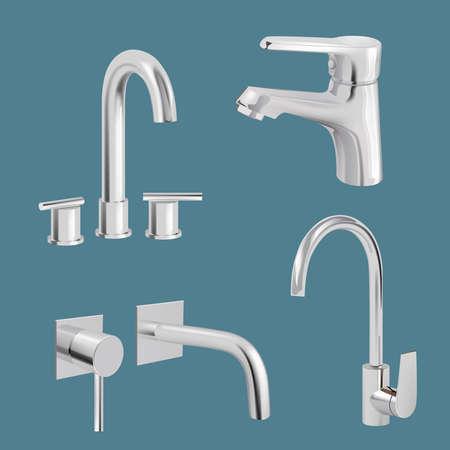 Water tap realistic. Aqua chrome kitchen utensil vector tap. Faucet realistic metal, equipment for bathroom illustration
