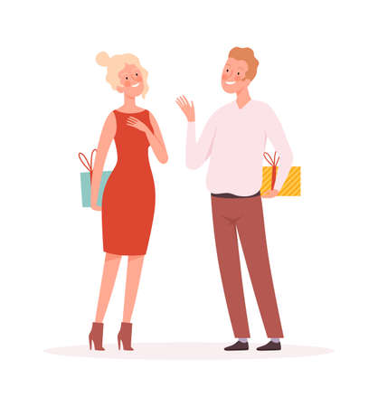Couple with gifts. Surprise, man woman holding presents boxes. Christmas New Year or Valentine day festive, holiday time vector illustration. Couple with gifts, woman and man with surprise box