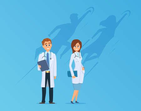 Doctors with superheroes shadow. Medical team, cute strong hospital workers. Medicine power metaphor vector illustration. Medical superhero, hero shadow strong, health teamwork Ilustração