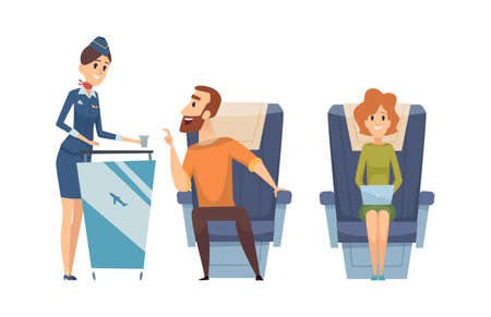 Board service. Stewardess with drink, lunch time. Airplane passengers chat with staff, happy flight vector illustration. Stewardess offer drink to character during flight