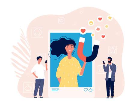 Like addiction. Woman photo selfie, addict of social media. Man likes girl image in smartphone vector illustration. Woman social addiction, smartphone photo online Ilustração