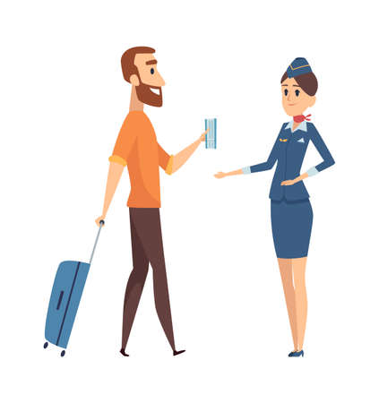 Man with fly ticket. Cartoon guy going on plane board with luggage. Stewardess and passenger, isolated vector characters. Illustration travel guy with ticket and baggage