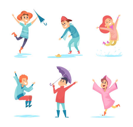 Happy rainy kids. Water season characters playing in wet environment jumping in puddles vector children. Kid wet under rain, funny walk rainfall in rubber boots illustration  イラスト・ベクター素材
