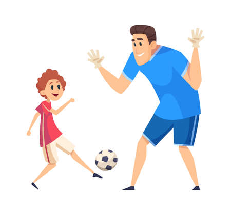 Football time. Sport training, father play soccer with son. People wear uniform, game with ball vector illustration. Father training son play football