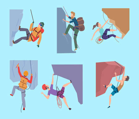 Climbing characters. Sport rocking people walking in mountain extream male and female climbers hikers vector set. Rock climbing travel, illustration climb character to mountain