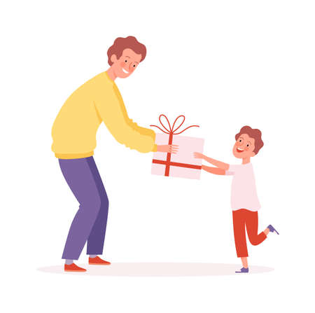 Father time. Man giving gift to son, happy boy and male. Brothers, birthday surprise or present vector illustration. Father and boy celebration, happy birthday surprise  イラスト・ベクター素材