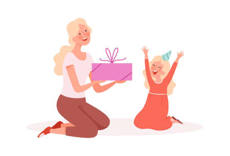 Happy girl. Woman giving gift to daughter, birthday party. Family festive, cute cartoon mother and little child vector illustration. Woman gift to daughter, birthday holiday childhood