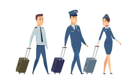 Plane team. Isolated pilot, navigator and stewardess with suitcases. Happy airplane staff going to board vector illustration. Flight aviation team, captain commanding attendants
