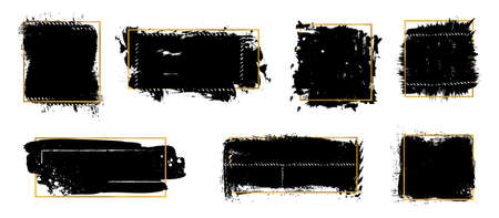 Ink brush blots. Golden frames, black grunge textures. Isolated dirty elements with gold ornament vector set. Splatter paint, graphic blot dirty, grunge texture illustration